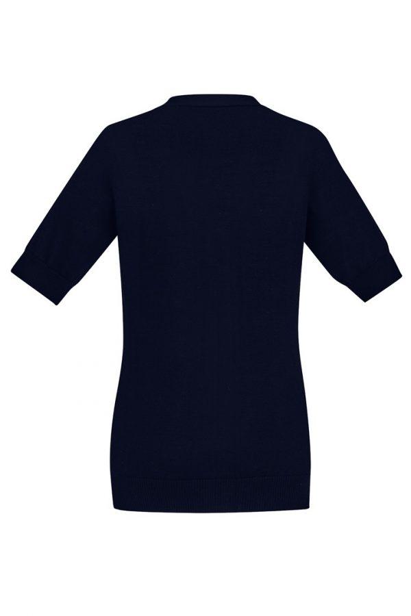 Women's Zip Front Short Sleeve Knit Navy