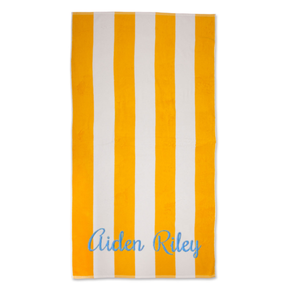 Embroidered striped towel two names